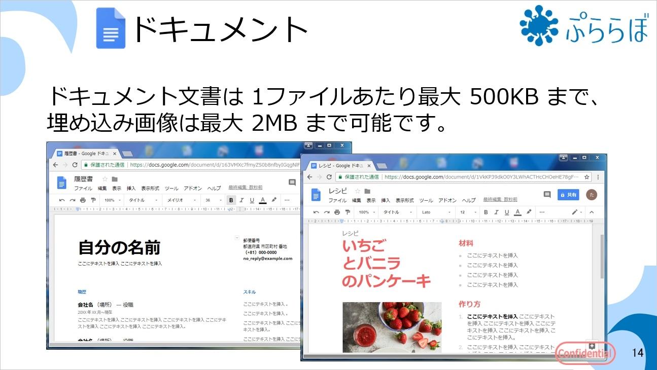 ドキュメント文書は 1ファイルあたり最大 500KB まで、埋め込み画像は最大 2MB まで可能です。