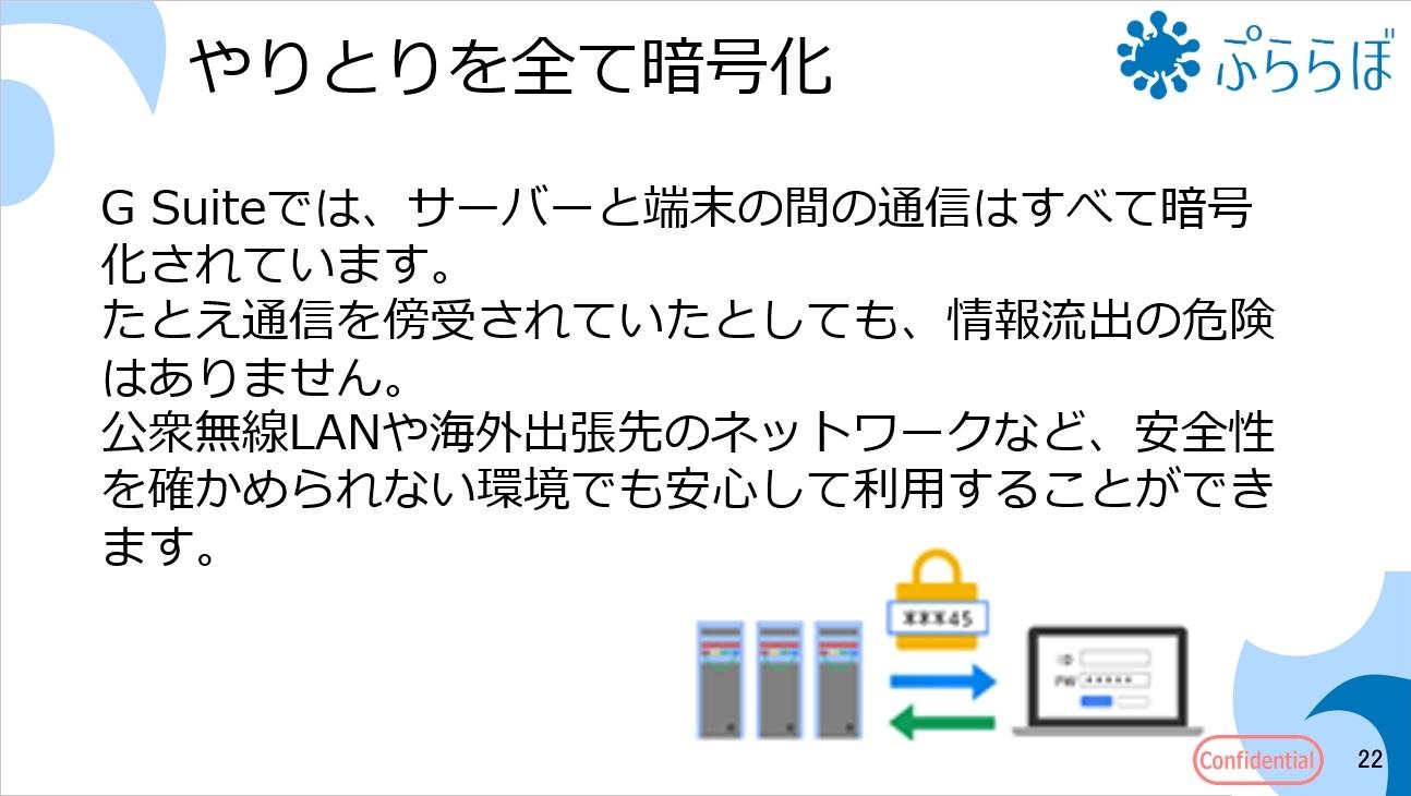 G Suiteでは、サーバーと端末の間の通信はすべて暗号化されています。たとえ通信を傍受されていたとしても、情報流出の危険はありません。公衆無線LANや海外出張先のネットワークなど、安全性を確かめられない環境でも安心して利用することができます。